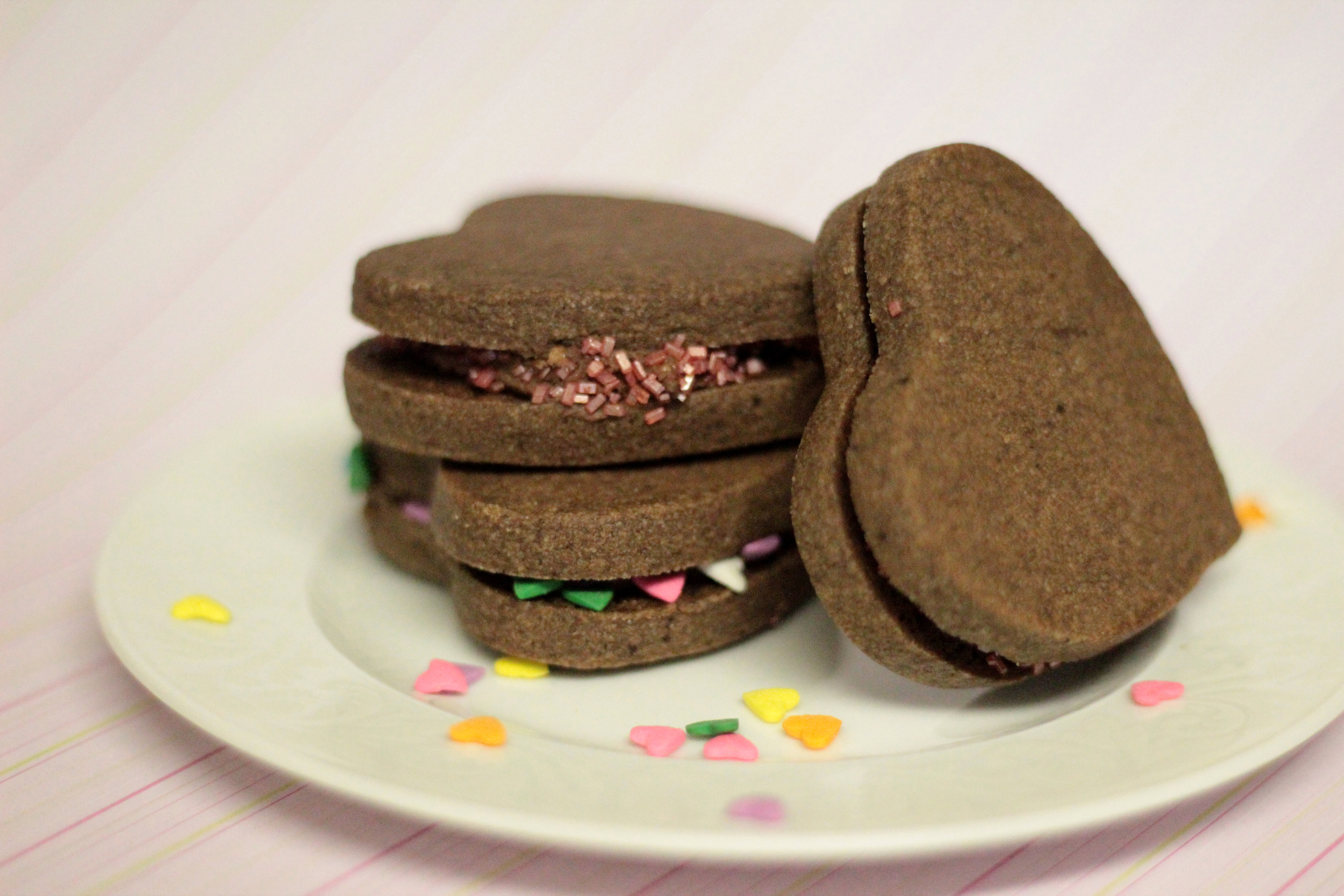 Chocolate Heart Sandwich Cookies | Holly Bakes